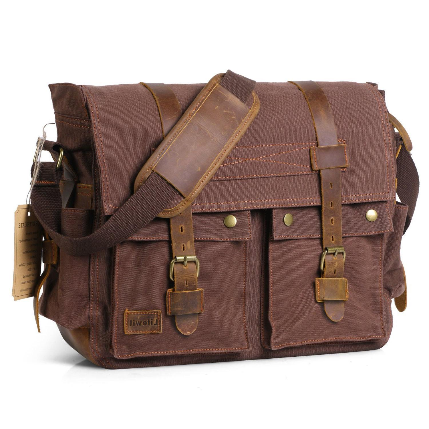 Lifewit 17.3'' Men Messenger Bag Vintage Canvas Leather Mili