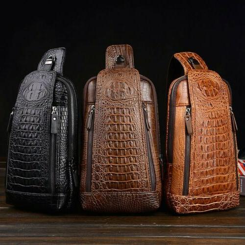 Style Men's Leather Chest Sling Bag Crossbody Backpack Daypa