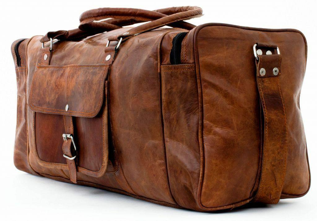 Men's Real Leather Travel Luggage Garment Duffle Gym Bags Me