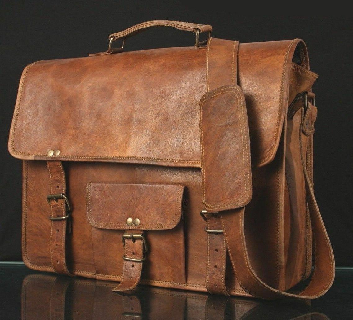 Men's Real Retro Vintage Leather Messenger Business Laptop B