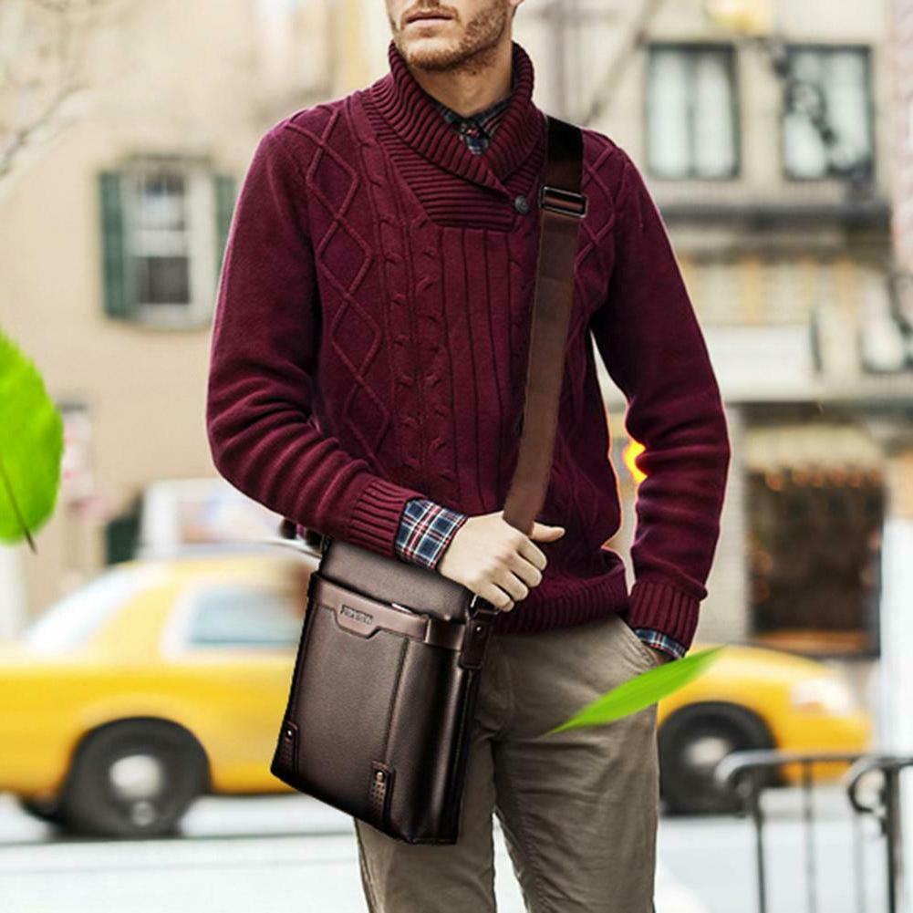 Men PU Leather Soft Messenger Bag Crossbody Business Shoulder