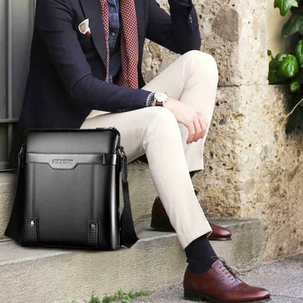 Men PU Messenger Crossbody Business Handbag Shoulder