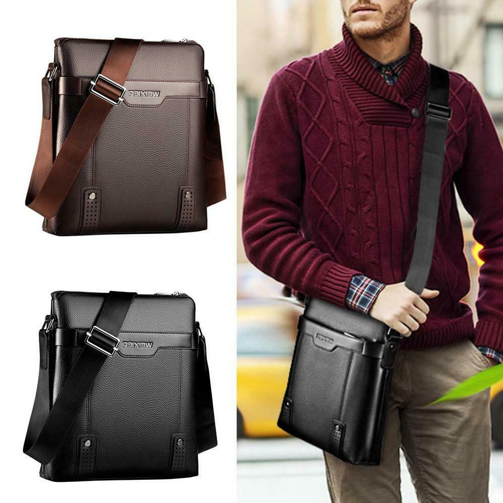 men pu leather soft messenger bag crossbody