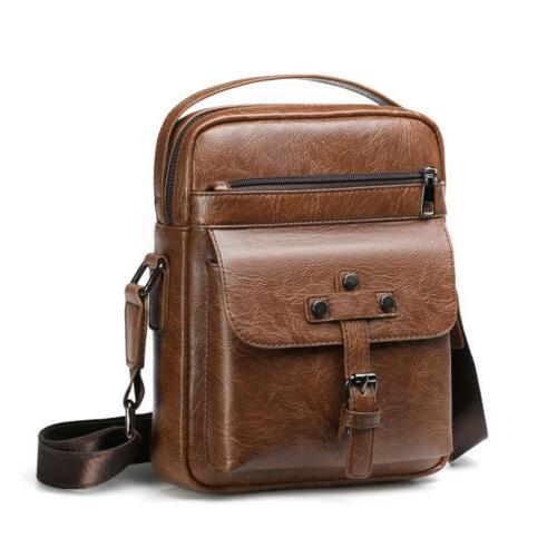 Mens Leather Shoulder Bag Vintage Messenger Crossbody Bags S