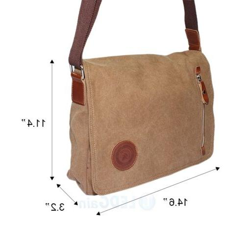 Men's Vintage Canvas Satchel Shoulder Laptop Book Bags
