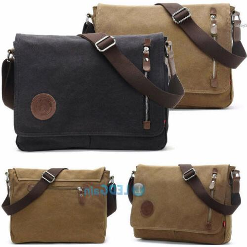 Men's Vintage Canvas Satchel Messenger Laptop Book Bags