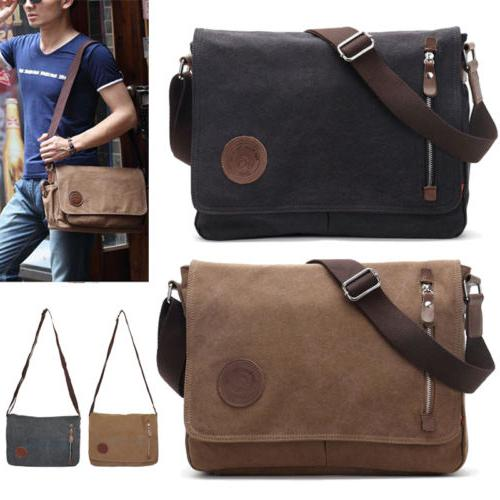 men s vintage canvas schoolbag satchel shoulder
