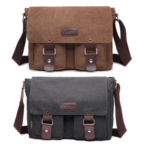 men s vintage crossbody satchel canvas leather