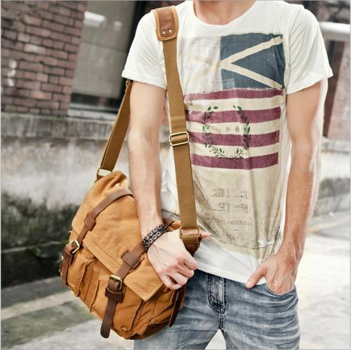 Men's Military Leather Satchel Shoulder Messenger Bag