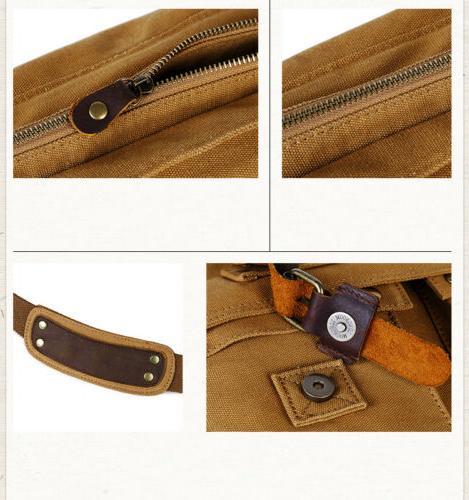 Men's Vintage Military Canvas Leather Satchel Shoulder