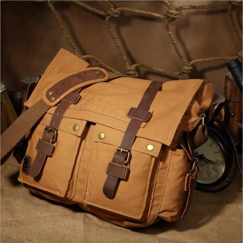 Men's Military Leather Satchel Laptop Shoulder Messenger