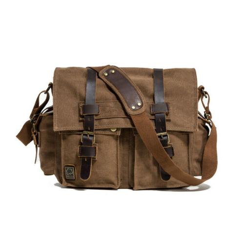 """Men's Vintage Military Leather Satchel 14"""" Shoulder Bag"""