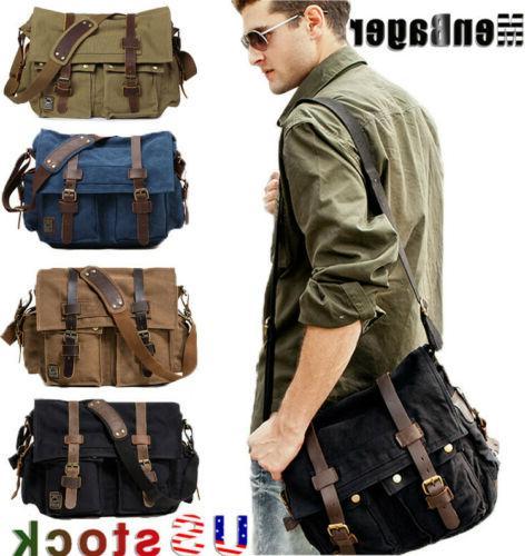 men s vintage military canvas leather satchel