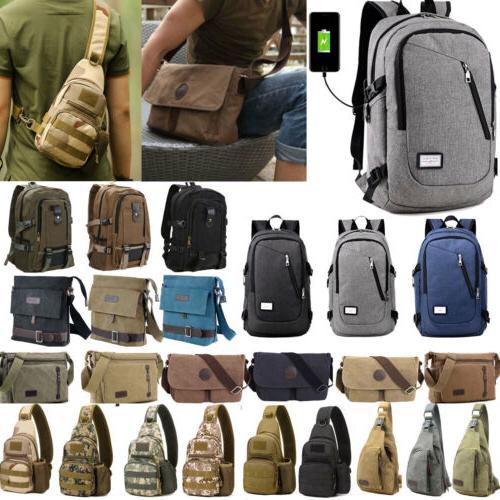 men vintage canvas backpack satchel school military