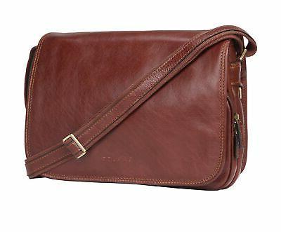 men vintage leather messenger bag