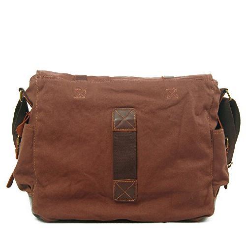 Berchirly Men Canvas Messenger Bag for 17.3inch Laptop