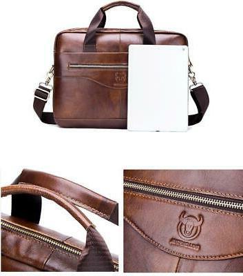 Mens Business Genuine Briefcase Laptop Messenger