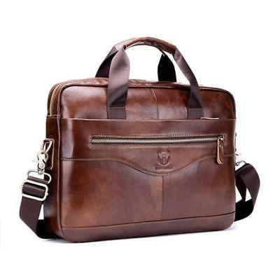 mens business genuine leather briefcase handbag laptop