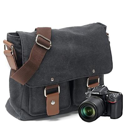 Peacechaos Mens DSLR Camera Messenger Bag Dark Grey