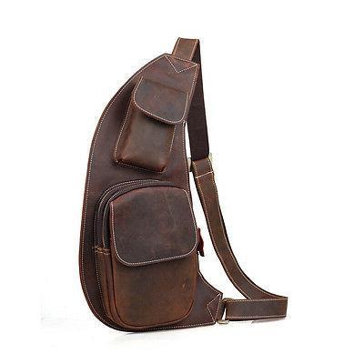 Mens Leather Chest Bag Shoulder Satchel