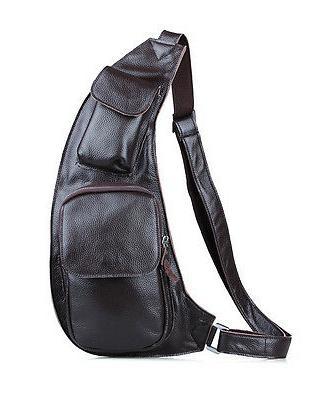 Mens Leather Bag Sling Backpack Shoulder Satchel Pack