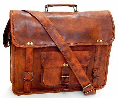 """Mens Genuine Leather messenger bag for 15"""" laptop shoulder b"""
