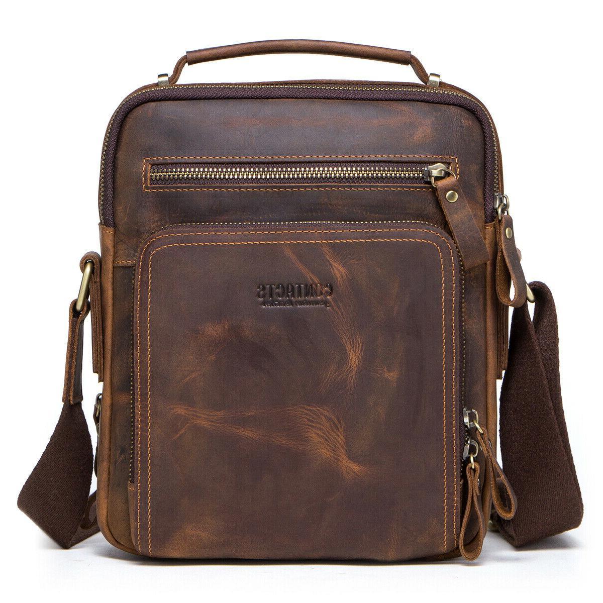Mens Genuine NUBUCK Leather Tote Laptop Shoulder Messenger B