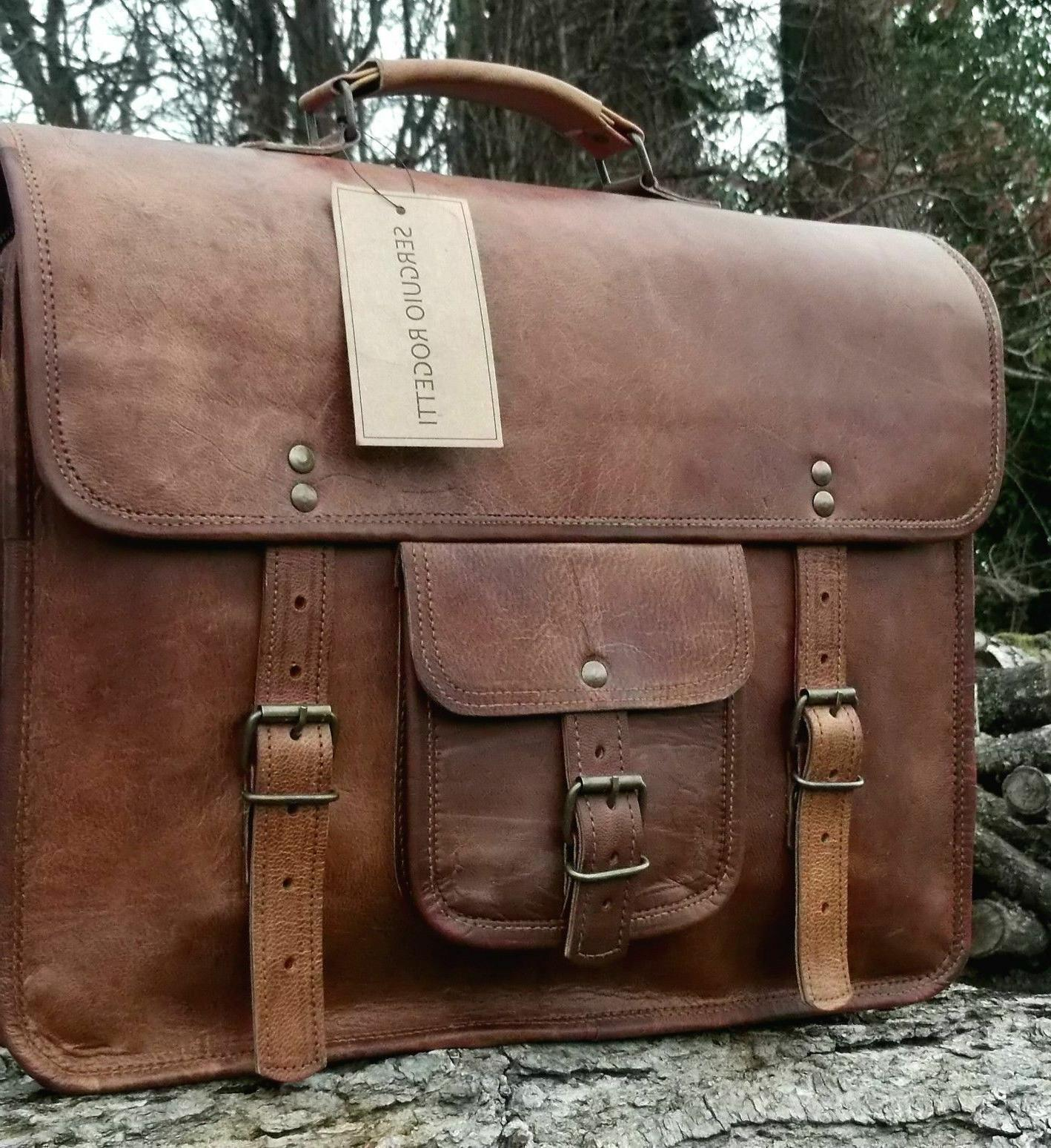 Mens Genuine Vintage Satchel Messenger Laptop Briefcase