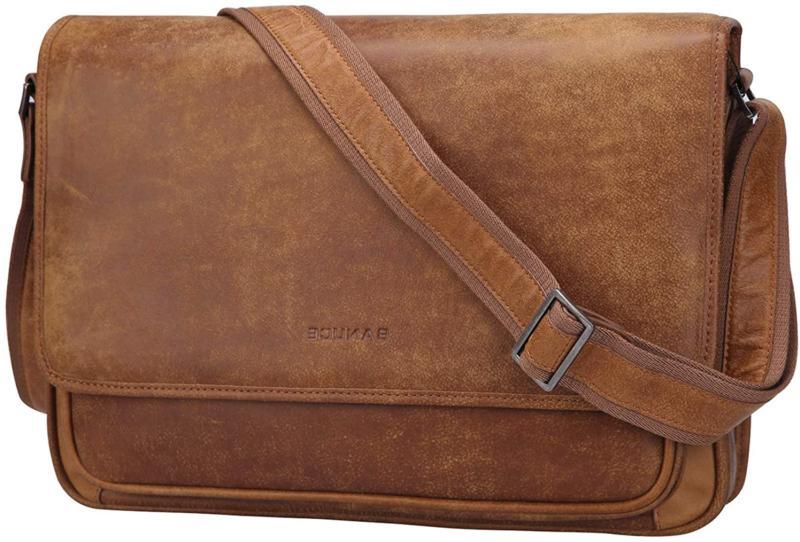 Banuce Mens Italian Leather Messenger Bags Shoulder Laptop C