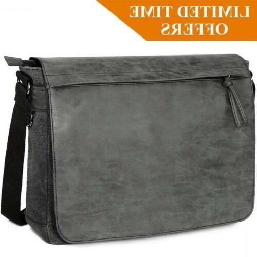 "Mens Laptop Messenger Bags 15.6"" Water Resistant Shoulder"