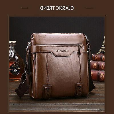 Men Shoulder Messenger Bag Leather Crossbody Bag Retro Brief