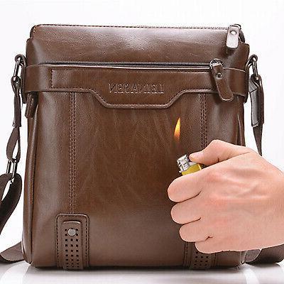 Men's Leather Shoulder Messenger Bags Work Briefcase Cross b