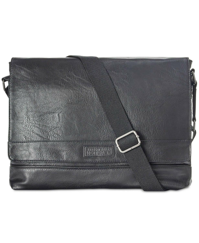 KENNETH COLE Reaction Men's Pebbled Messenger Laptop Bag
