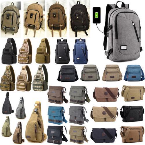 Mens Vintage Canvas Backpack Military Messenger Shoulder Bag