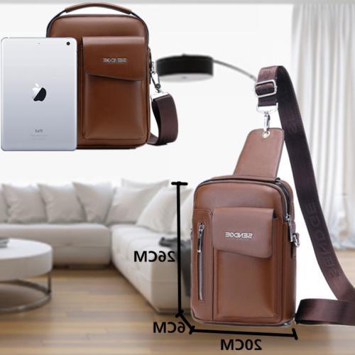 Messenger Crossbody Leather Backpack Chest Daypack
