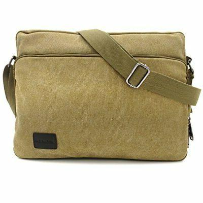 MiCoolker Multifunction Canvas Messenger Bag Handbag Khaki
