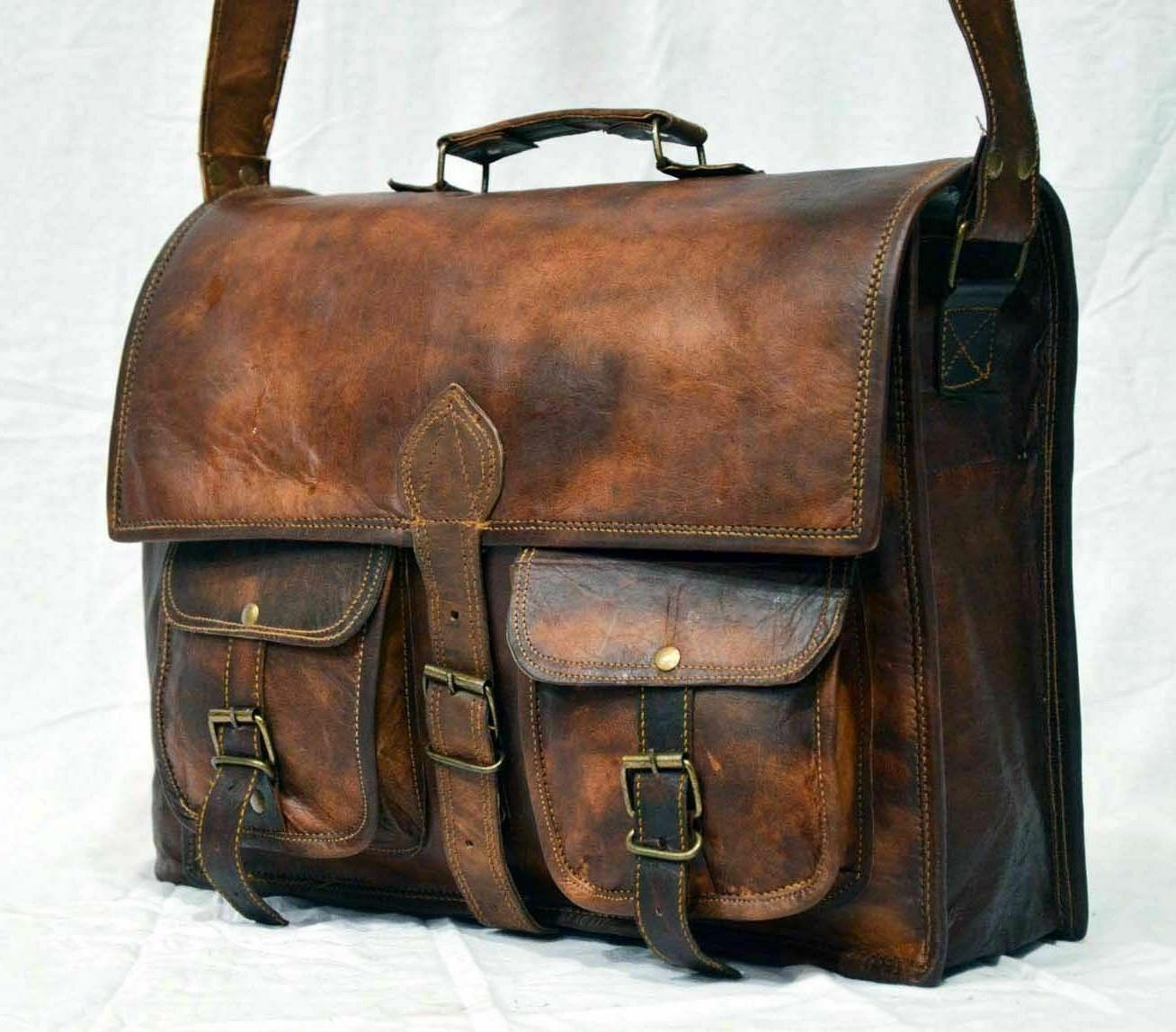 new briefcase vintage style real leather bag