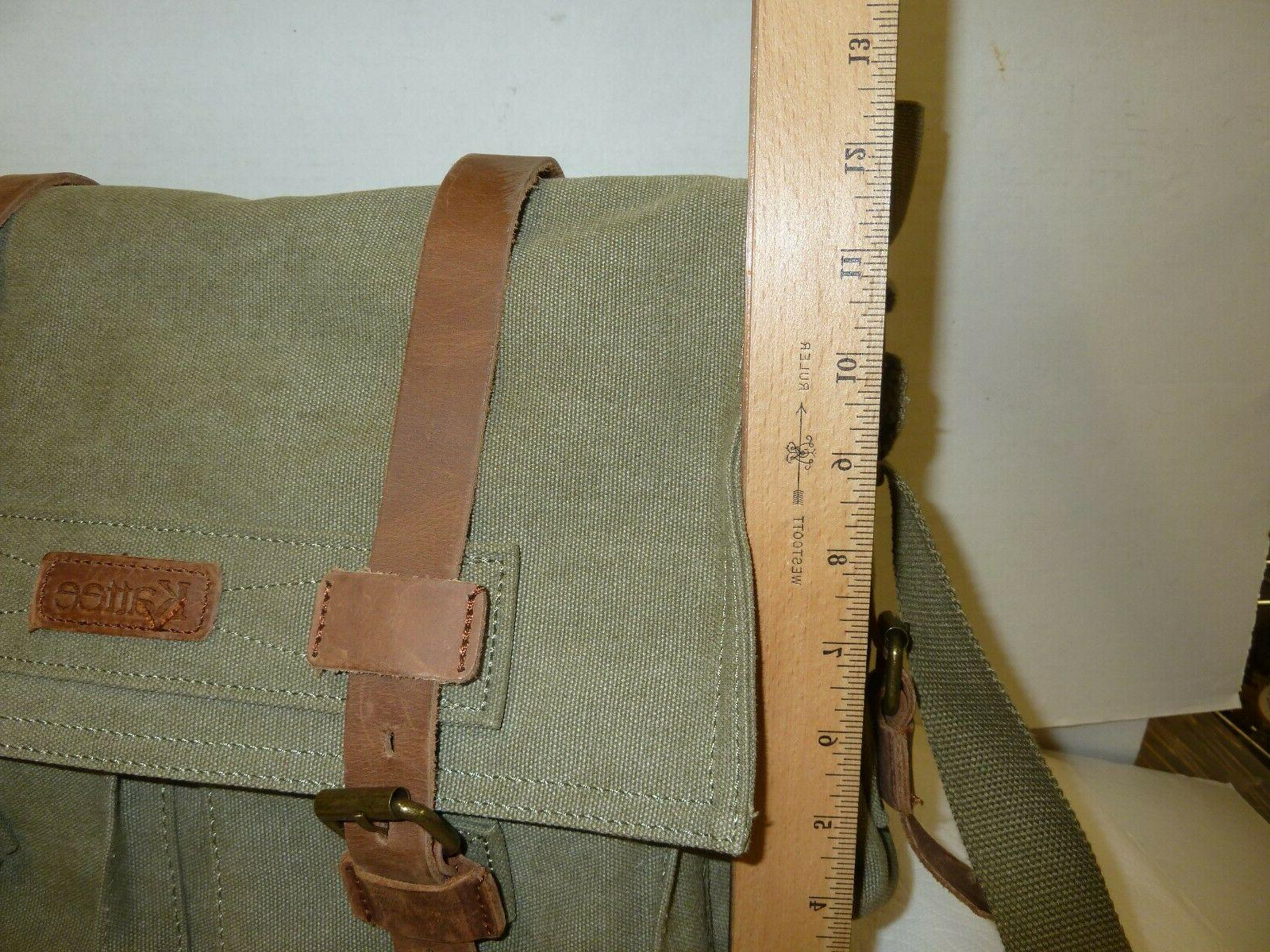 KATTEE new Canvas Leather Shoulder Bag Khaki WITH TAGS