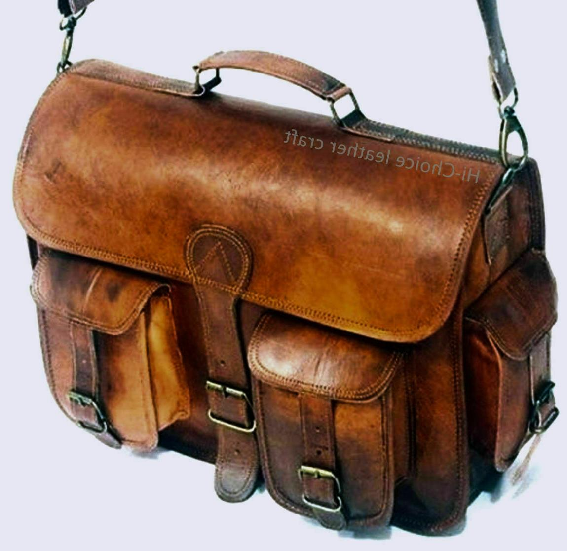 """New Men's 18"""" Large Brown Briefcase Genuine Leather Satchel"""