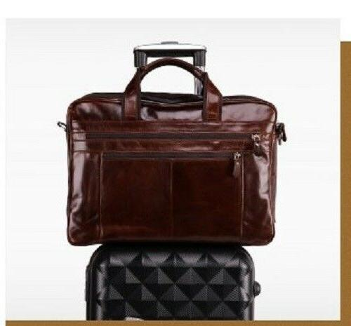 "New Vintage Genuine Leather Mens Briefcase 15"" Laptop"