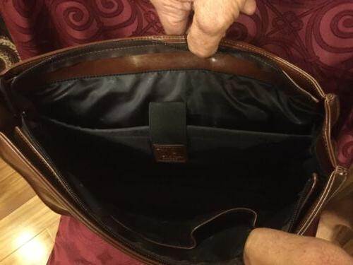 New With PU Leather Briefcase/Messenger Bag Brown