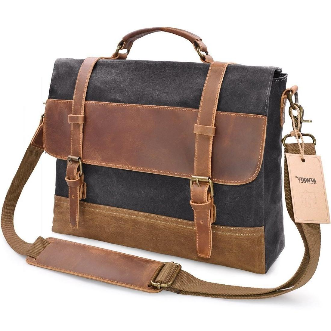 NEWHEY Mens Messenger Bag Waterproof Canvas Leather Computer d257f94a23b6d