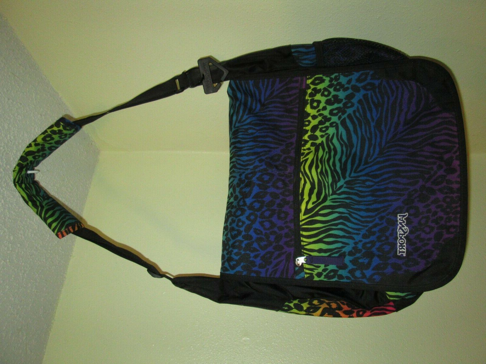 padded shoulder laptop messenger bag rainbow animal