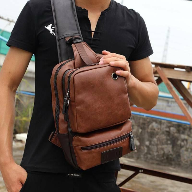 PU Shoulder Backpack Chest Daypack