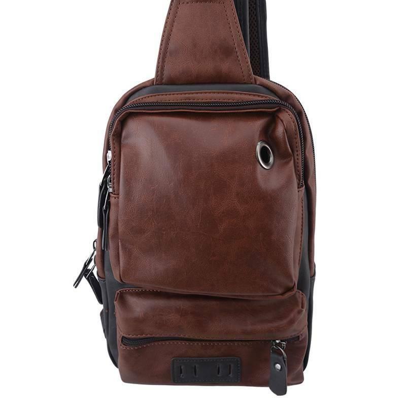PU Bag Travel Shoulder Backpack Chest Daypack