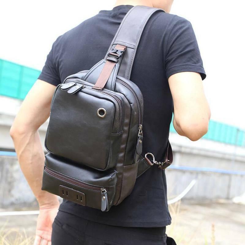 PU Bag Shoulder Backpack Crossbody Daypack Men