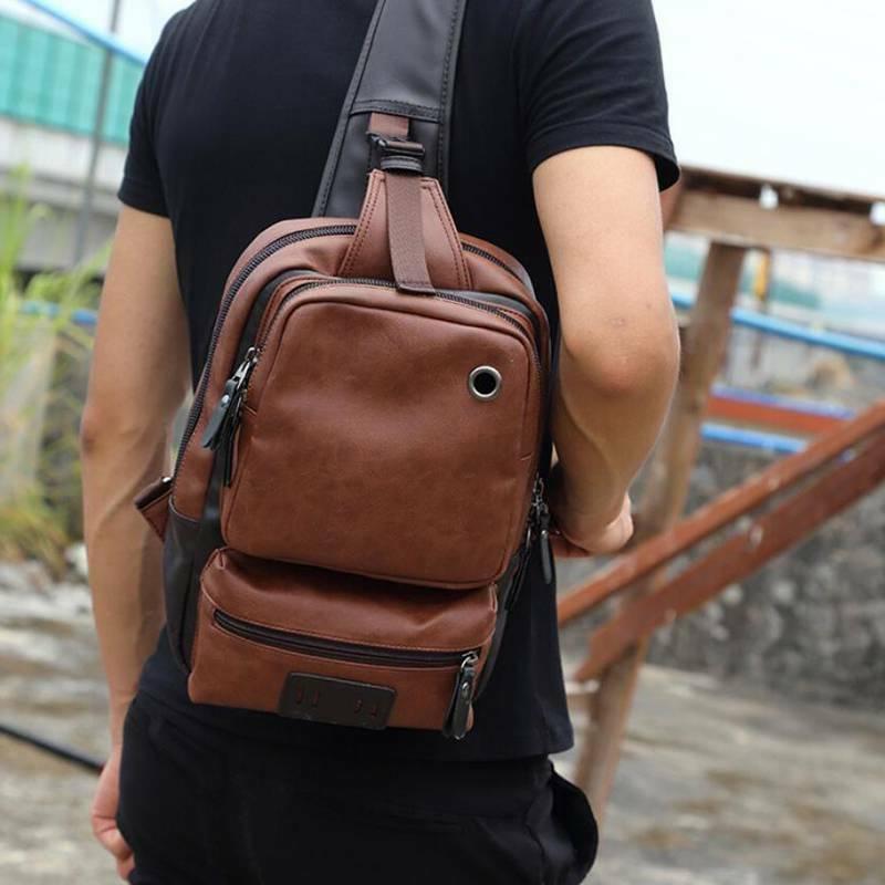 PU Sling Bag Travel Shoulder Backpack Crossbody Daypack for Men