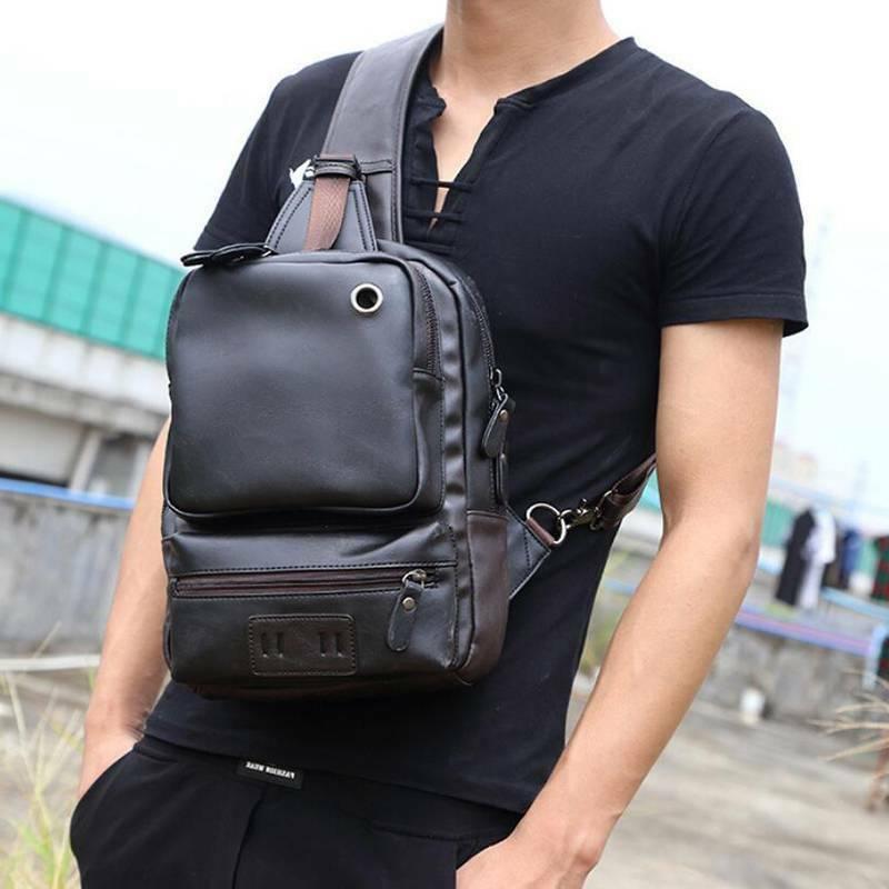 pu sling bag travel shoulder backpack chest