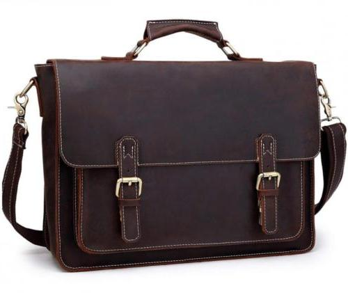 Berchirly Real Leather Lawyer Briefcase, 15.7 Laptop Messeng