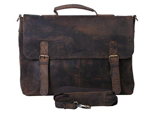 retro buffalo hunter leather laptop